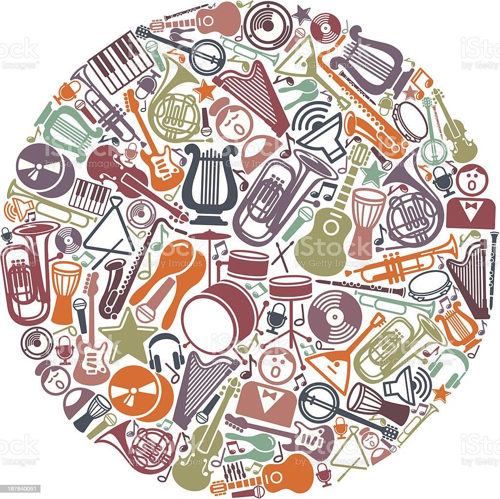 Circle from musical symbols vector art illustration