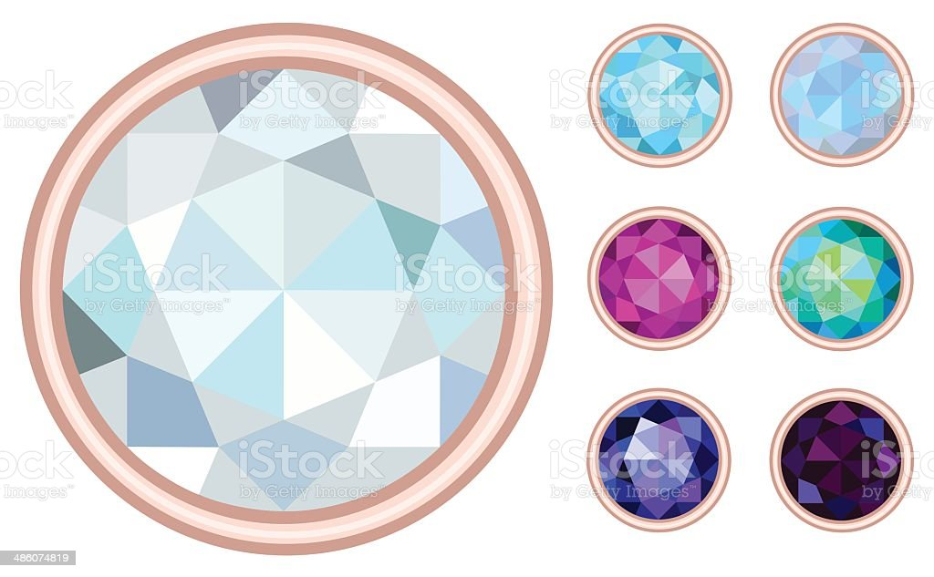circle gemstone set royalty-free stock vector art