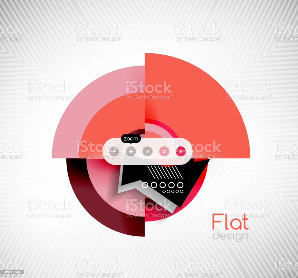 Circle geometric shapes flat interface design royalty-free stock vector art
