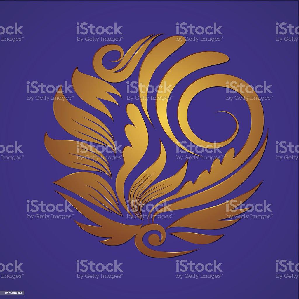 Circle Gold Ornament vector art illustration