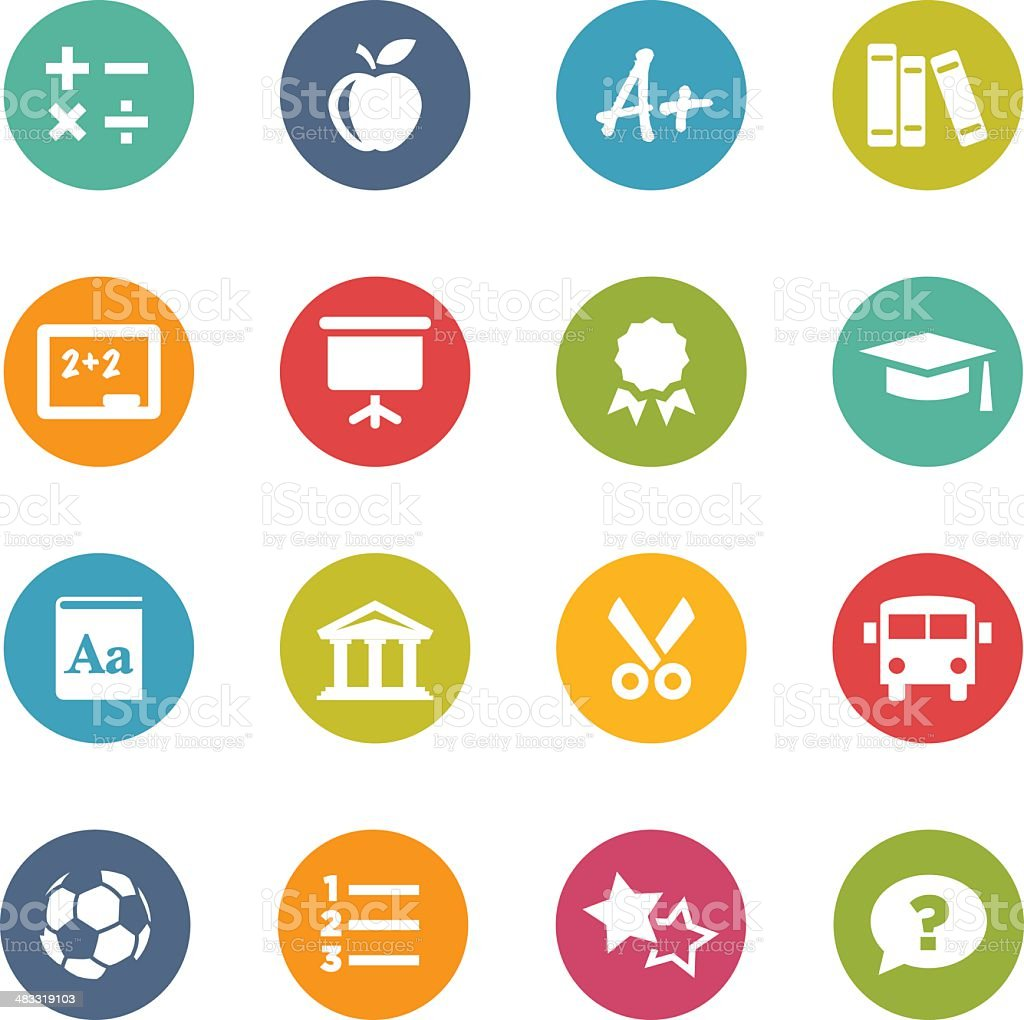Circle Icons | Education vector art illustration