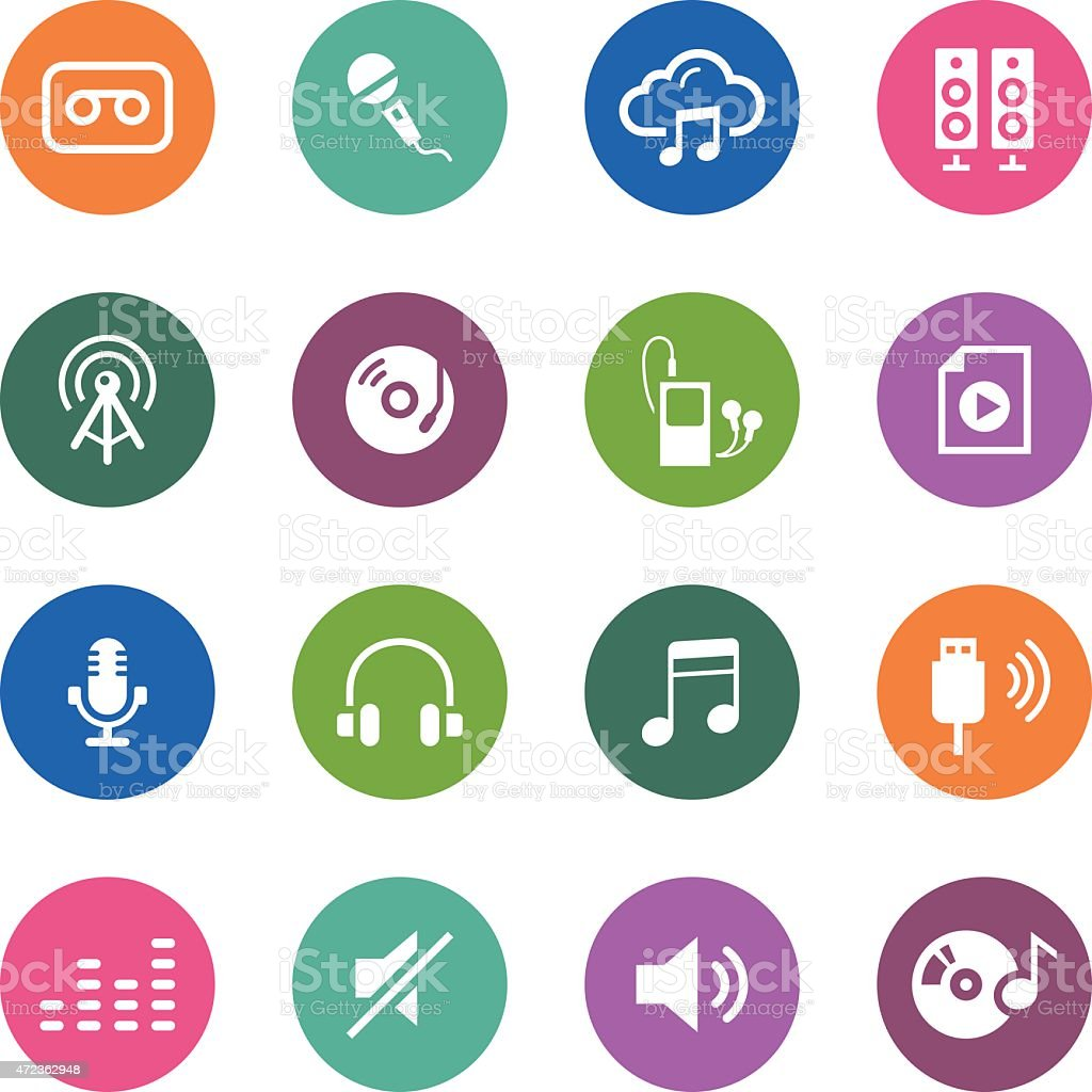 Circle Icons Series | Audio vector art illustration