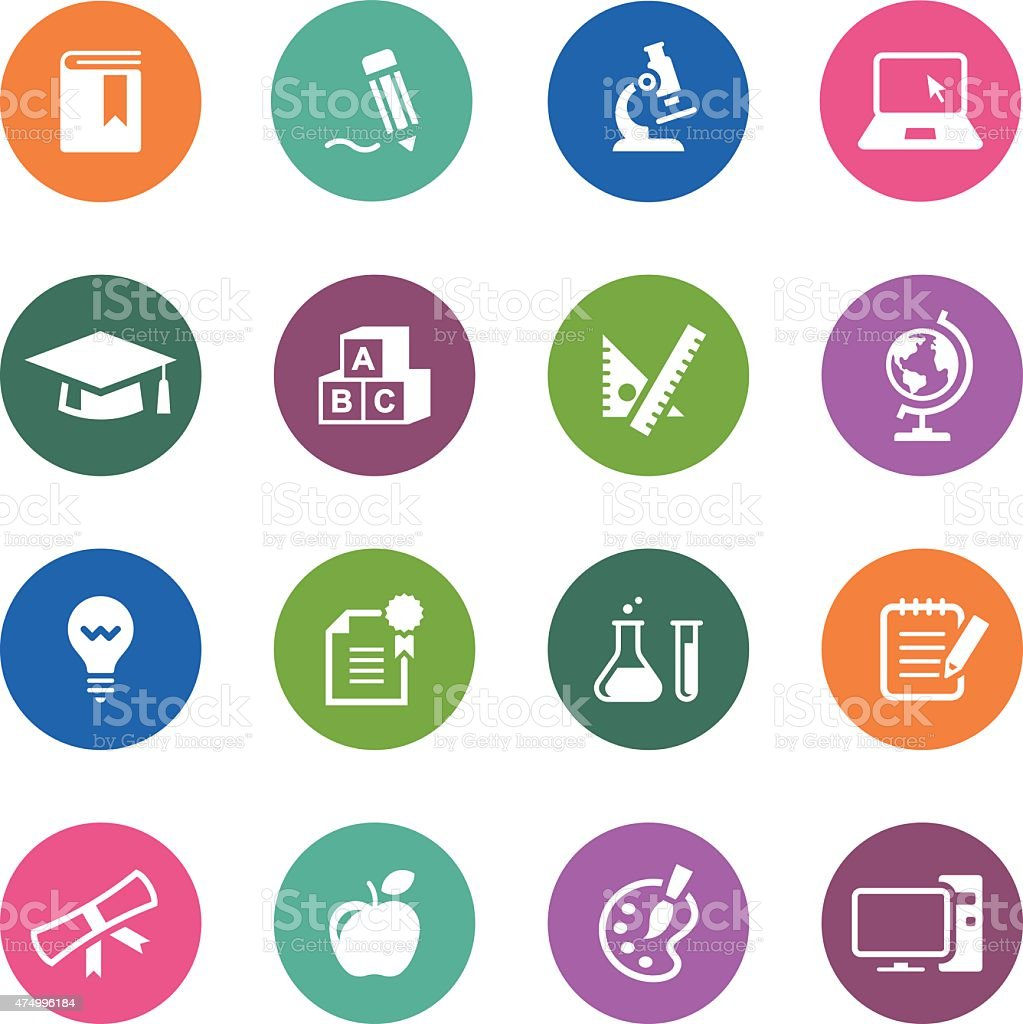 Circle Icons Series | Education vector art illustration