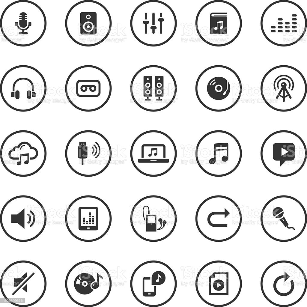 Circle Icons Set | Audio vector art illustration