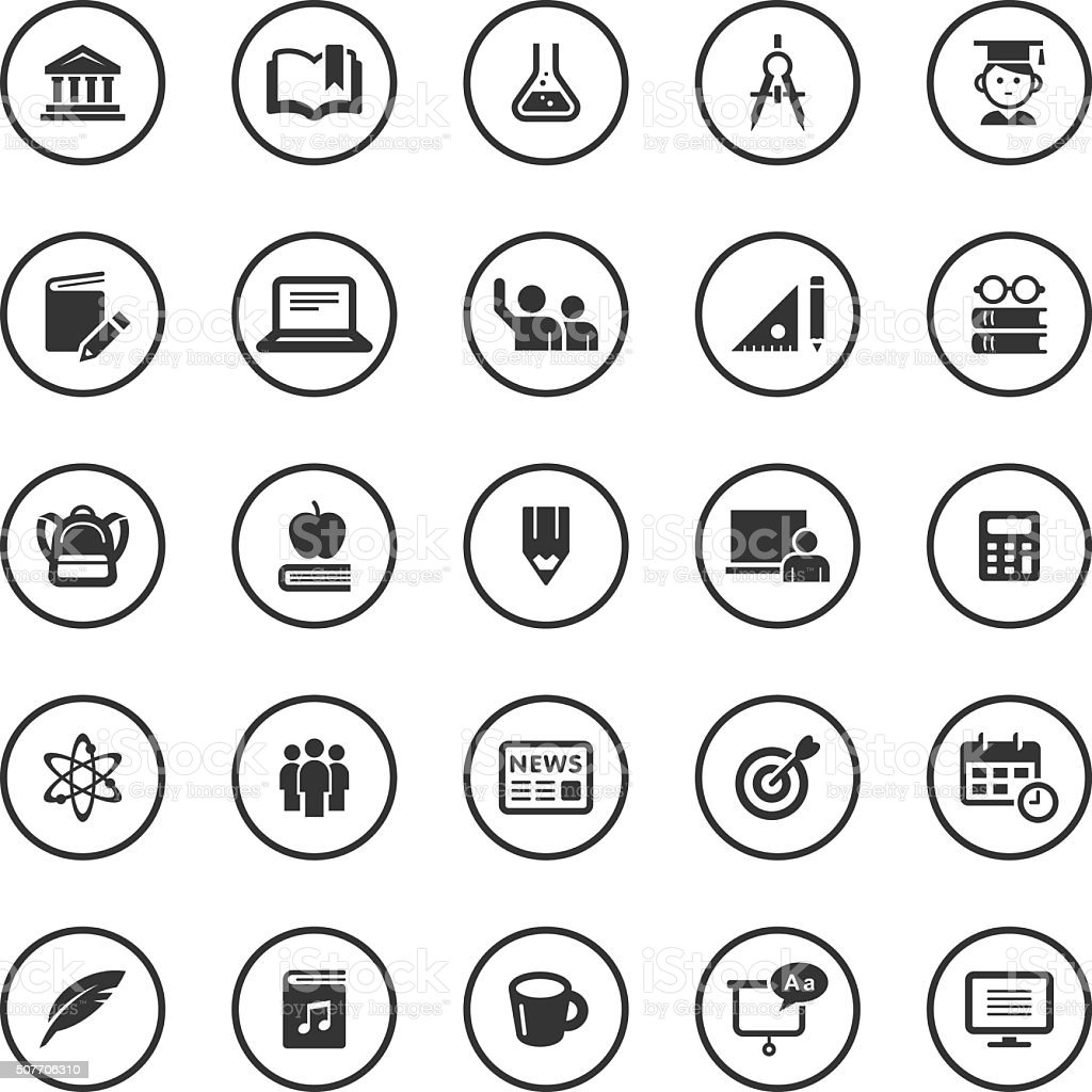Circle Icons Set | Education vector art illustration
