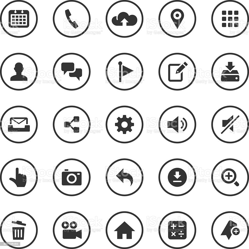 Circle Icons Set | Mobile Apps vector art illustration