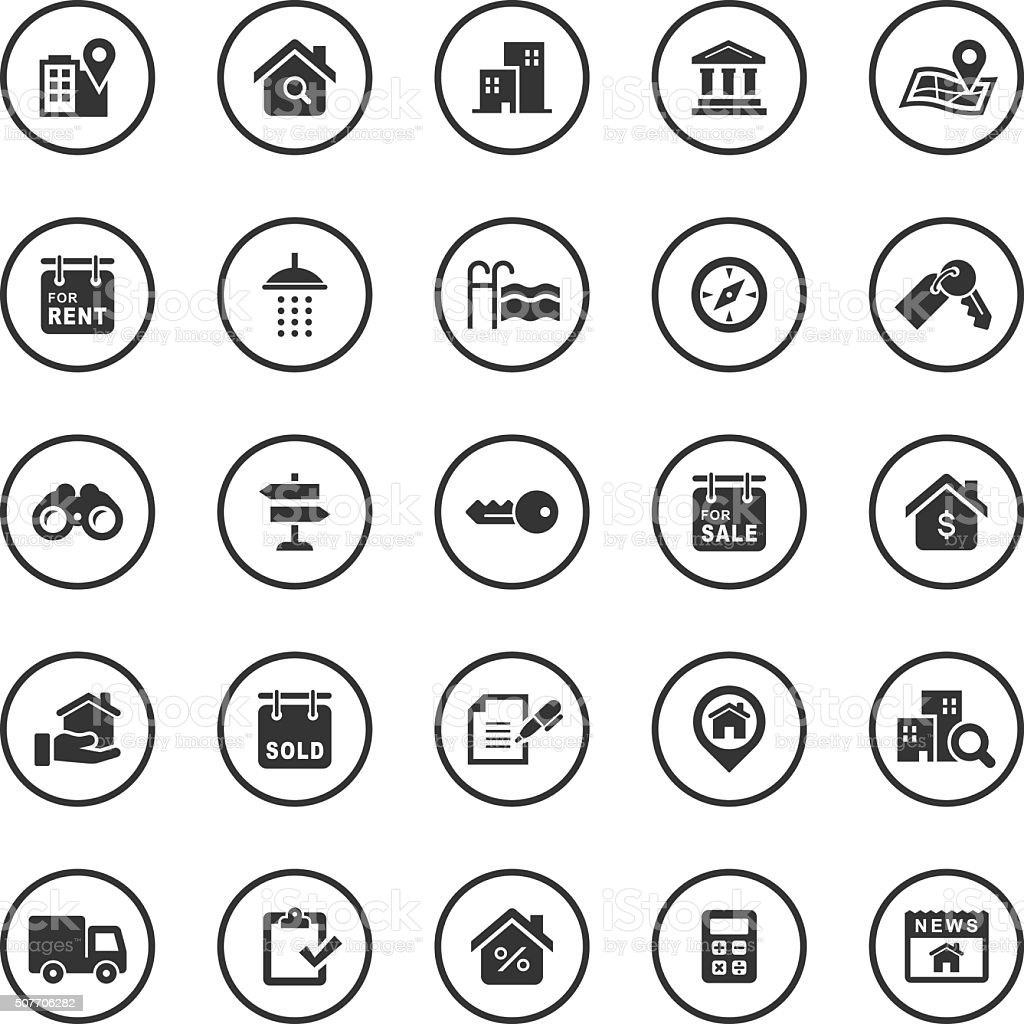Circle Icons Set | Real Estate vector art illustration