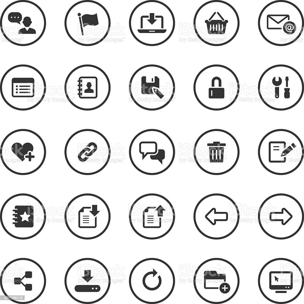 Circle Icons Set | Web & Internet vector art illustration