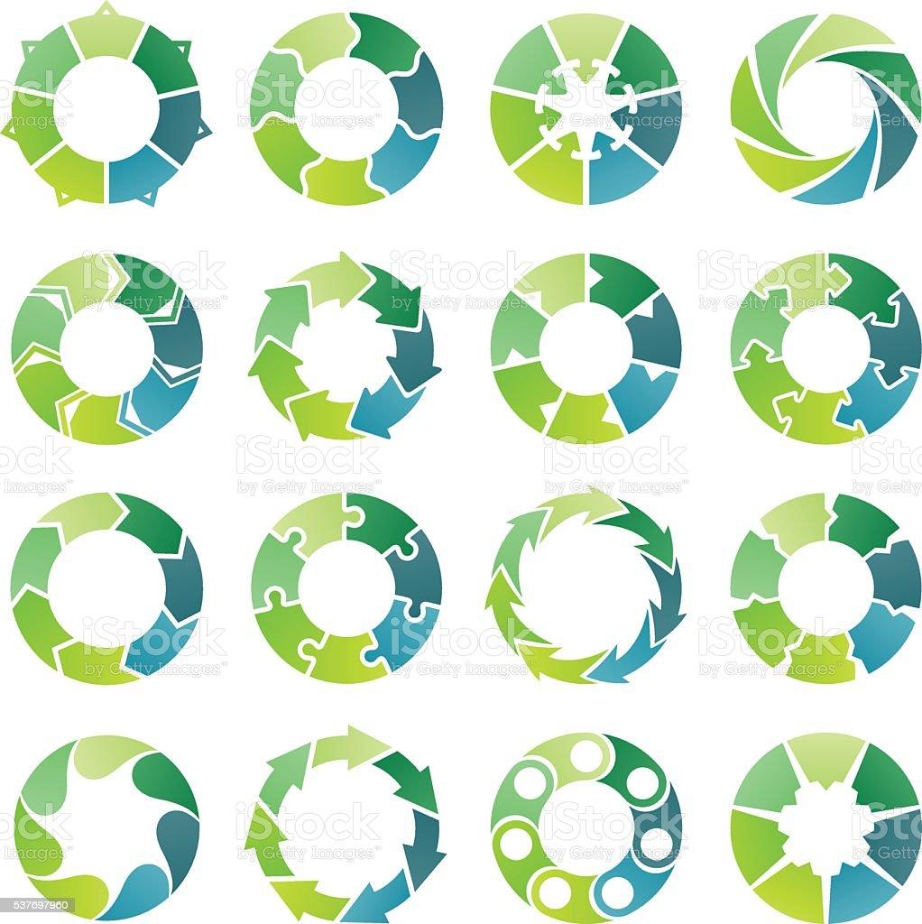 Circle infographic. 7 steps vector art illustration