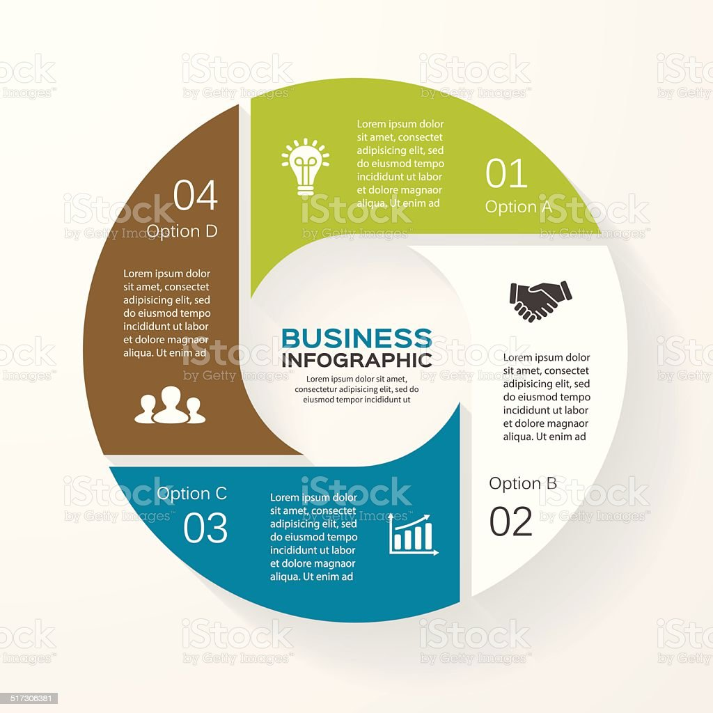 Circle infographic, diagram, presentation 4 options vector art illustration