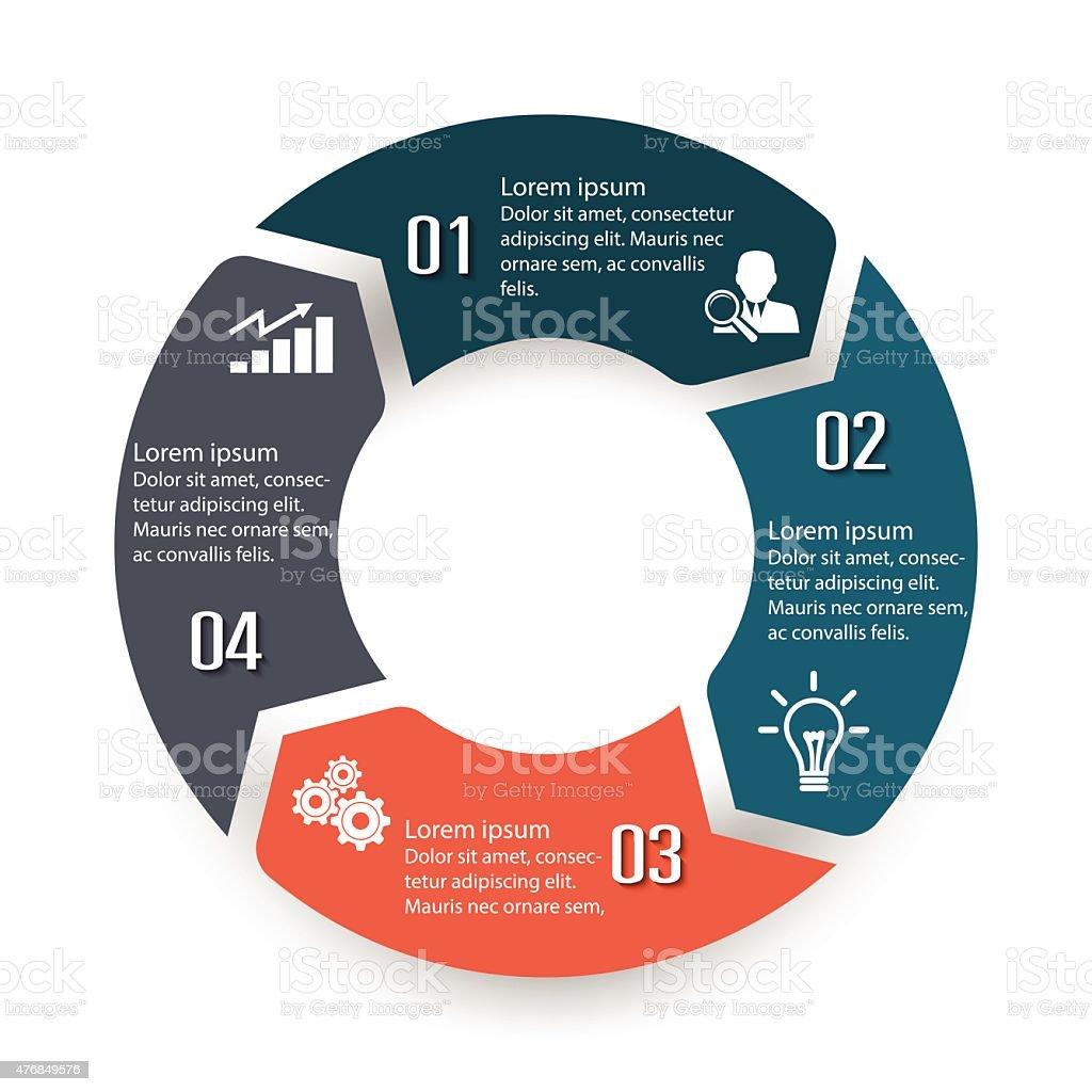 Circle infographic label four option colorful design vector art illustration