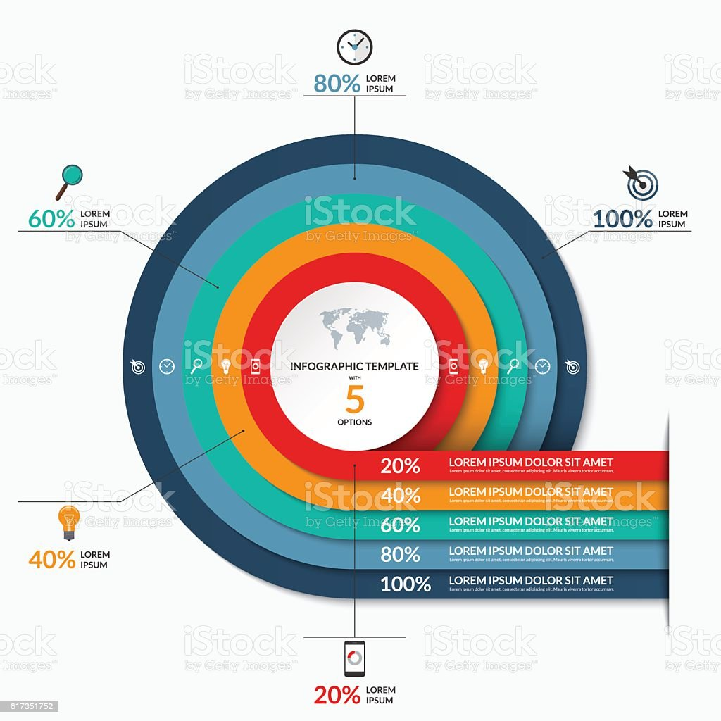 Circle infographic template. Vector banner with 5 options vector art illustration
