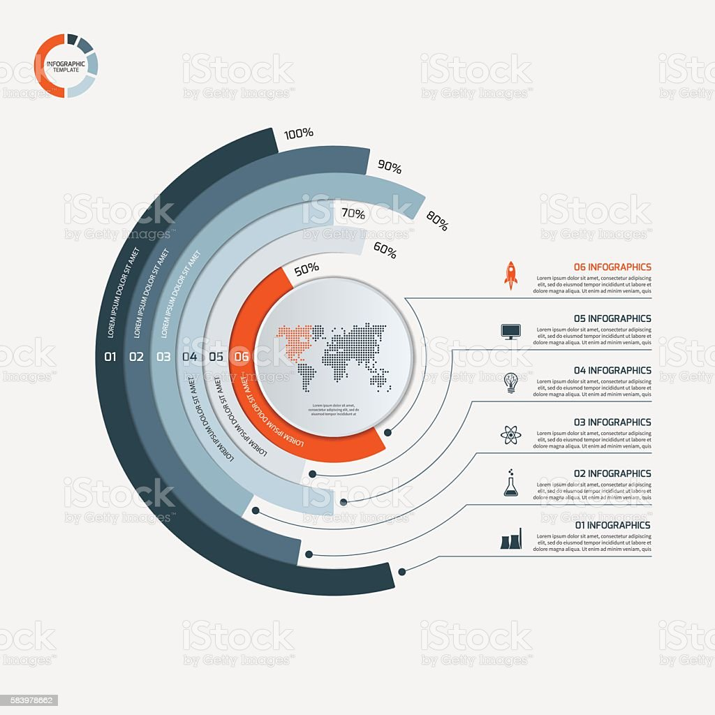 Circle infographic template with 6 options. Business concept. vector art illustration