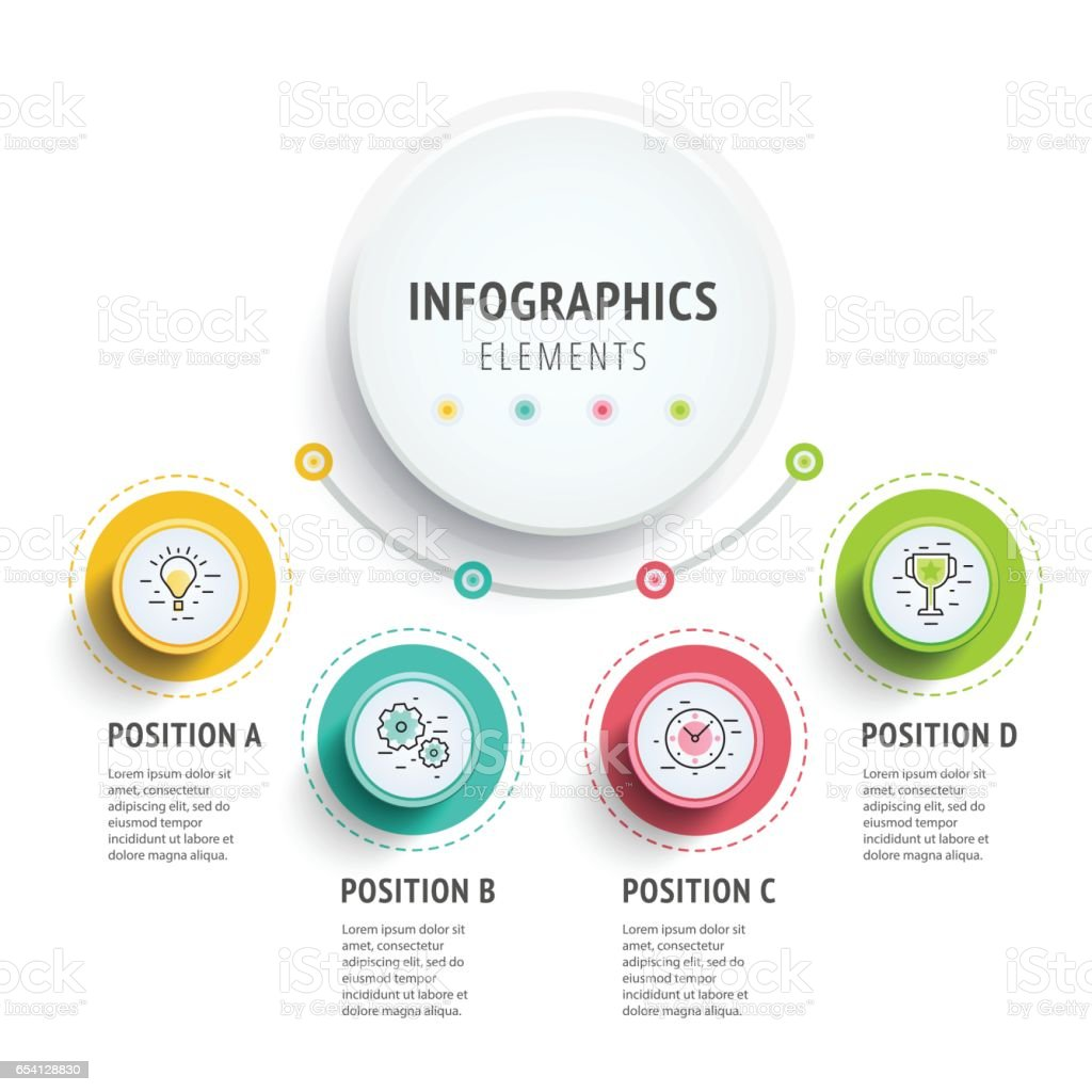 Circle infographics elements design. Abstract business workflow vector art illustration