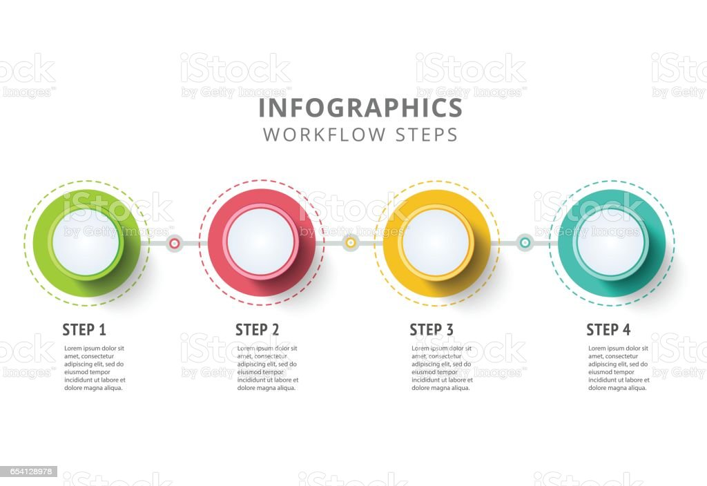 Circle infographics elements design. Abstract business workflow royalty-free stock vector art