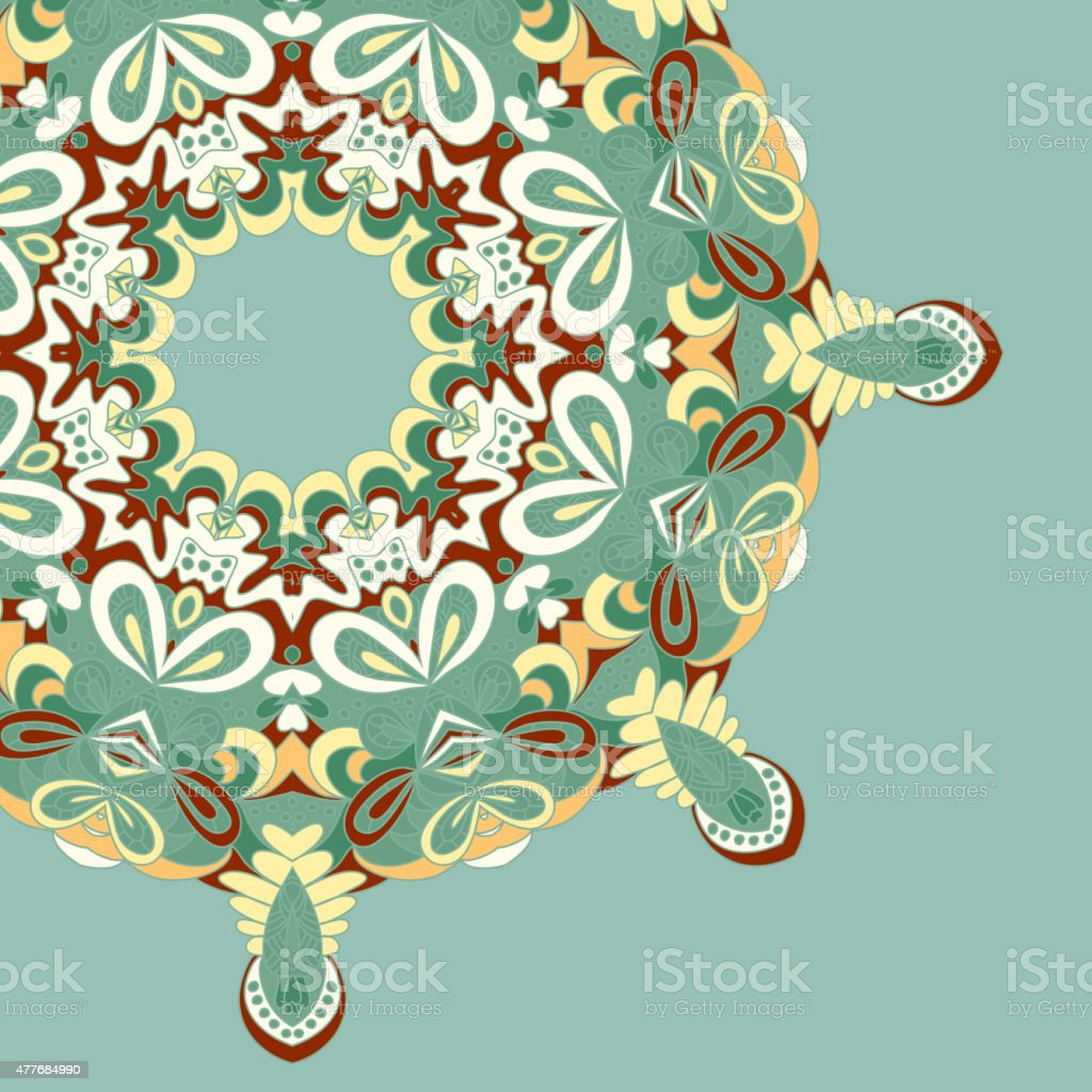 Circle lace hand-drawn abstract background. Ornament card. Ornamental round pattern vector art illustration