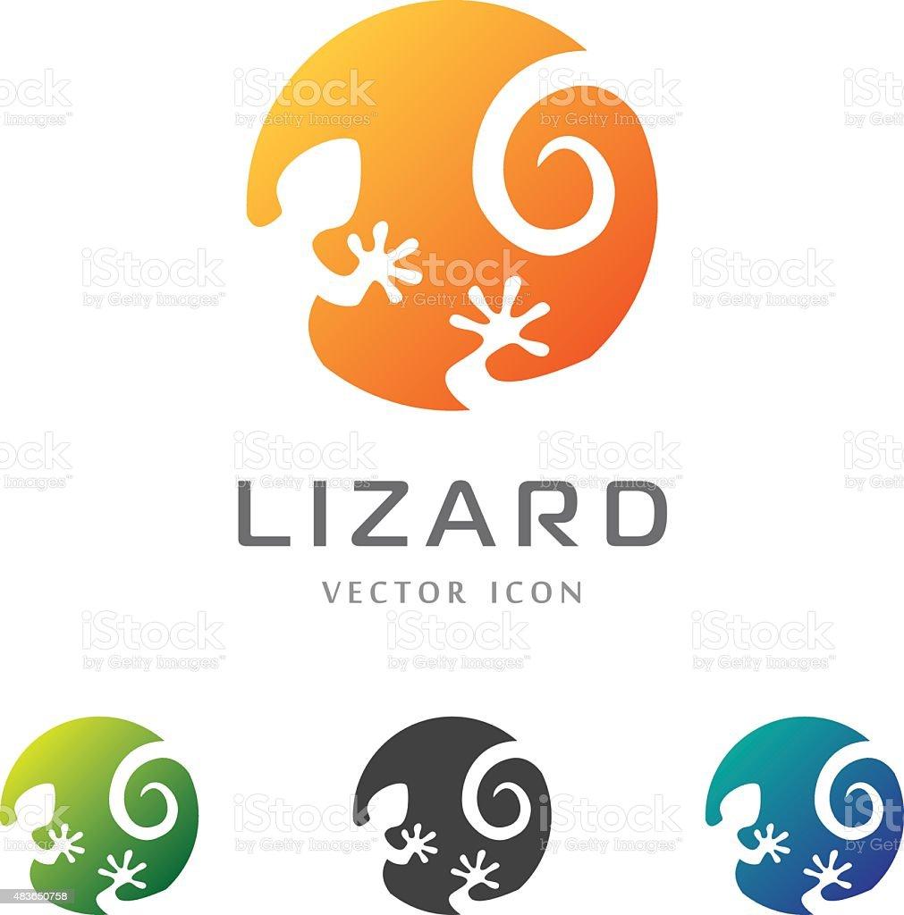 Circle lizard icon. Logo design. vector art illustration