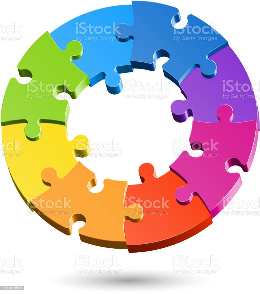 A circle made of colorful jigsaw puzzle pieces royalty-free stock vector art
