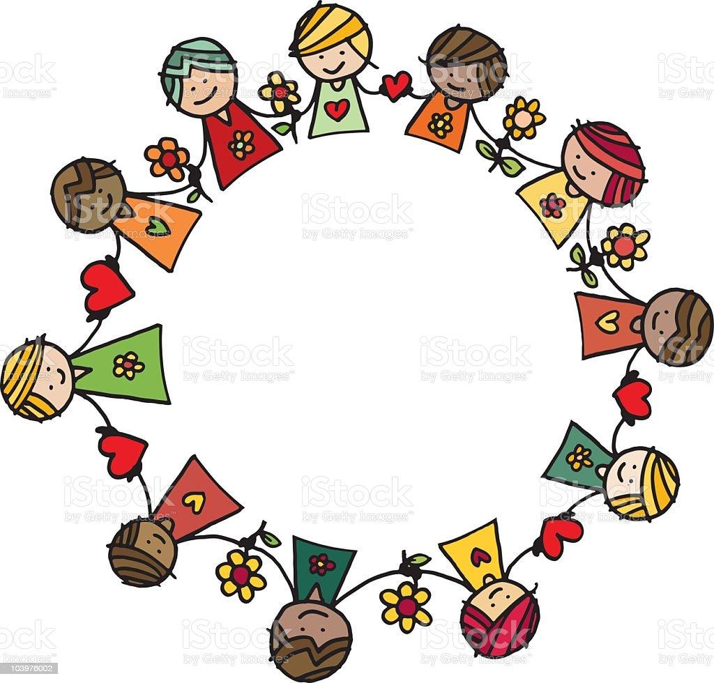 Circle of children vector art illustration