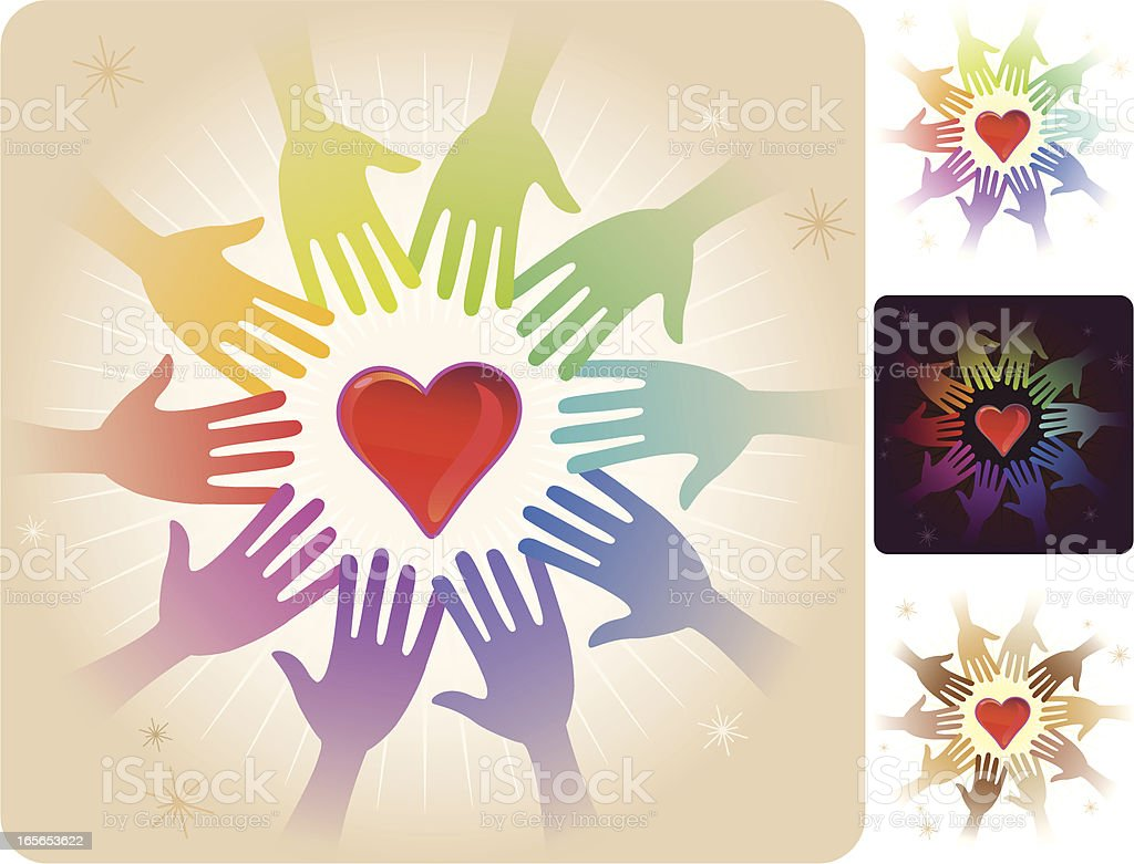 Circle of hands - Heart royalty-free stock vector art