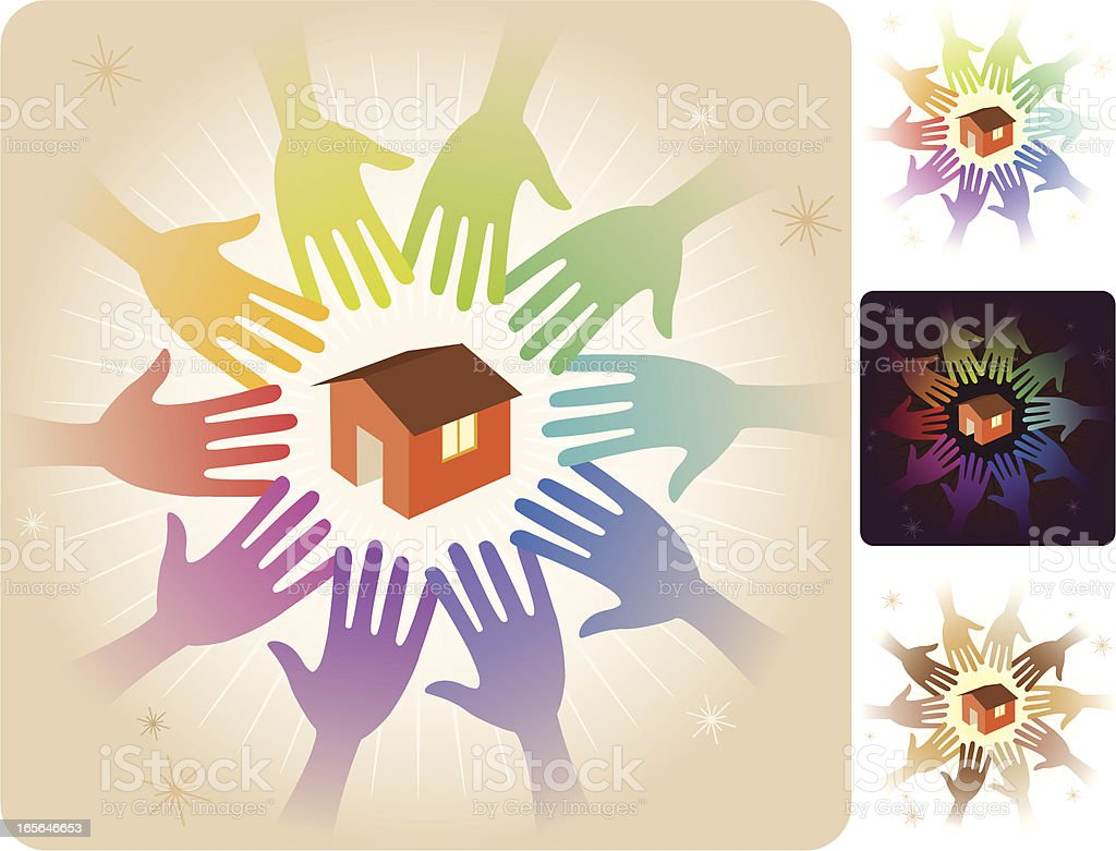 Circle of Hands - Home vector art illustration