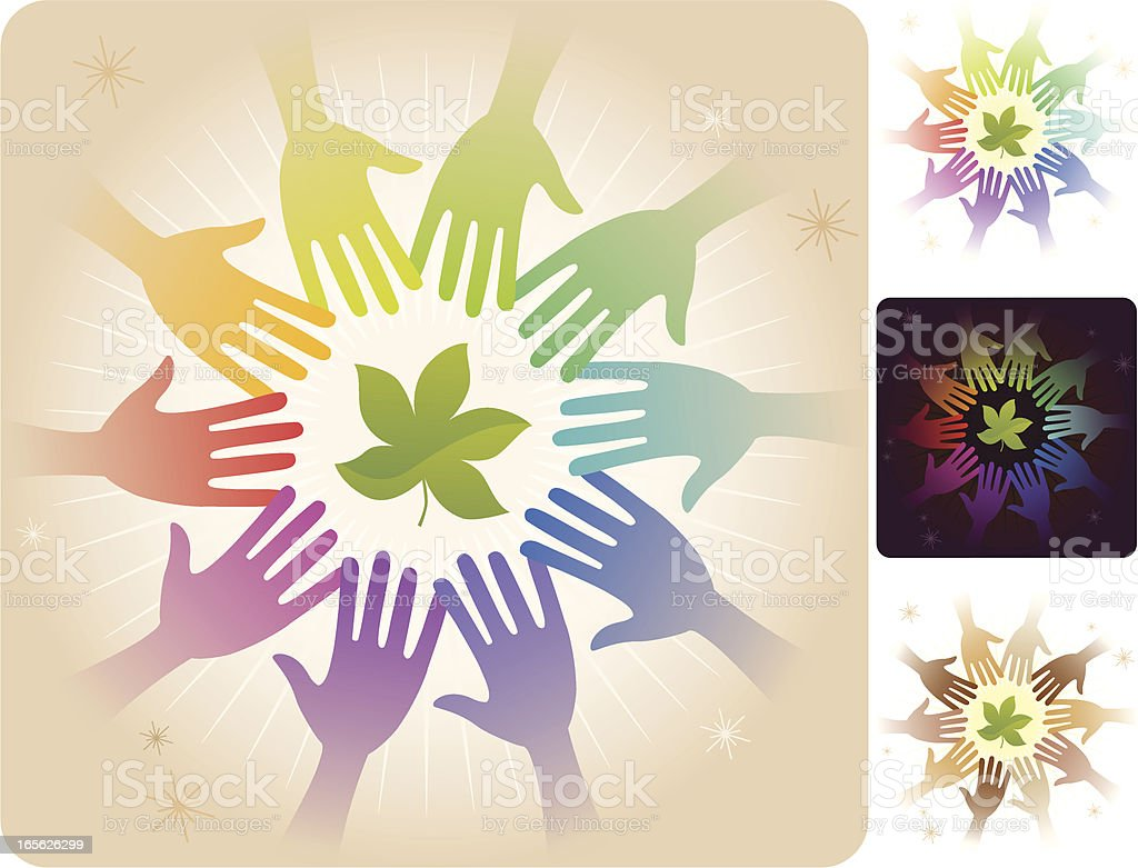 Circle of Hands - Leaves and Nature vector art illustration