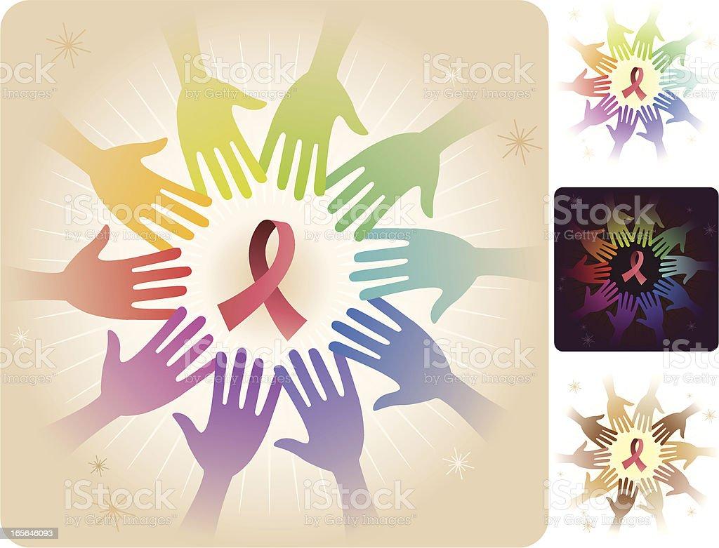 Circle of Hands - Ribbon royalty-free stock vector art