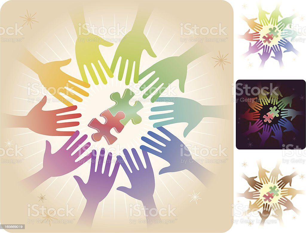 Circle of Hands - Solving Problems royalty-free stock vector art