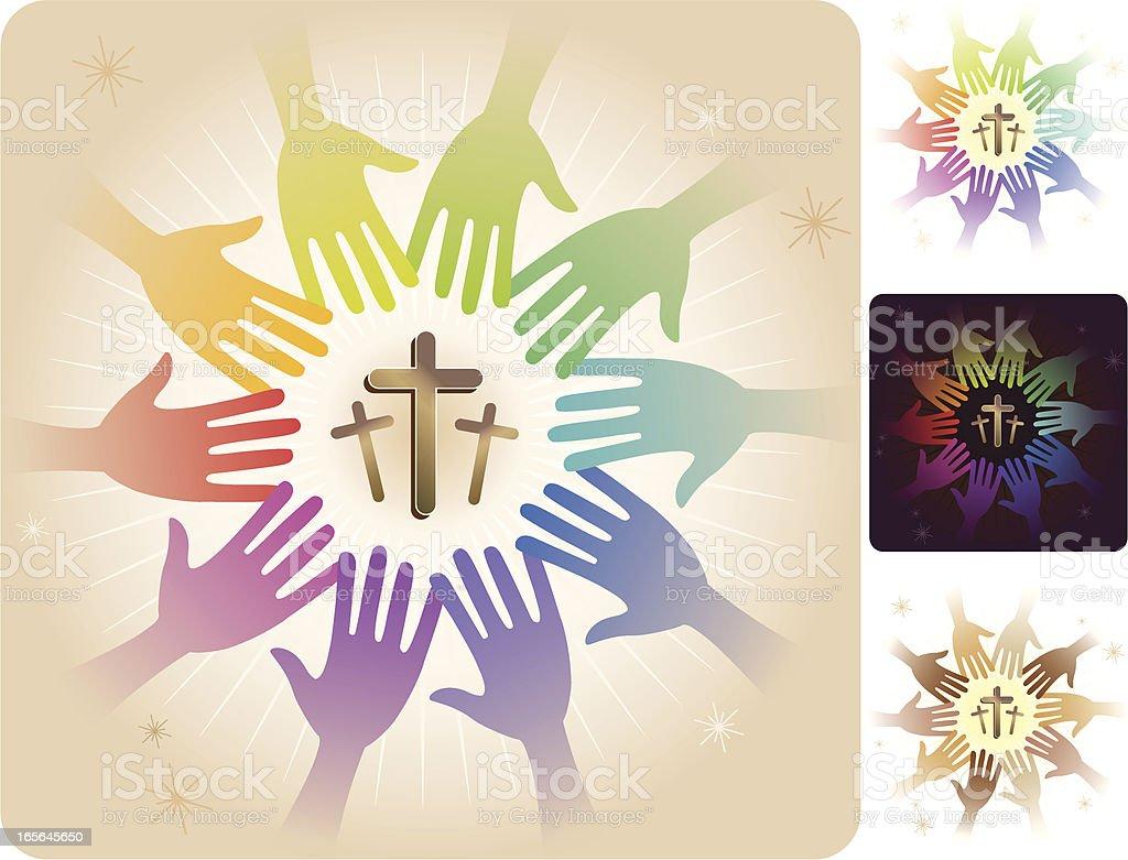 Circle of Hands - Three Crosses royalty-free stock vector art