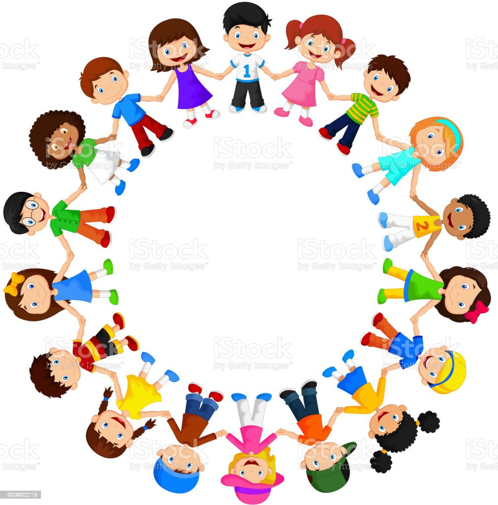 Circle of happy children different races vector art illustration