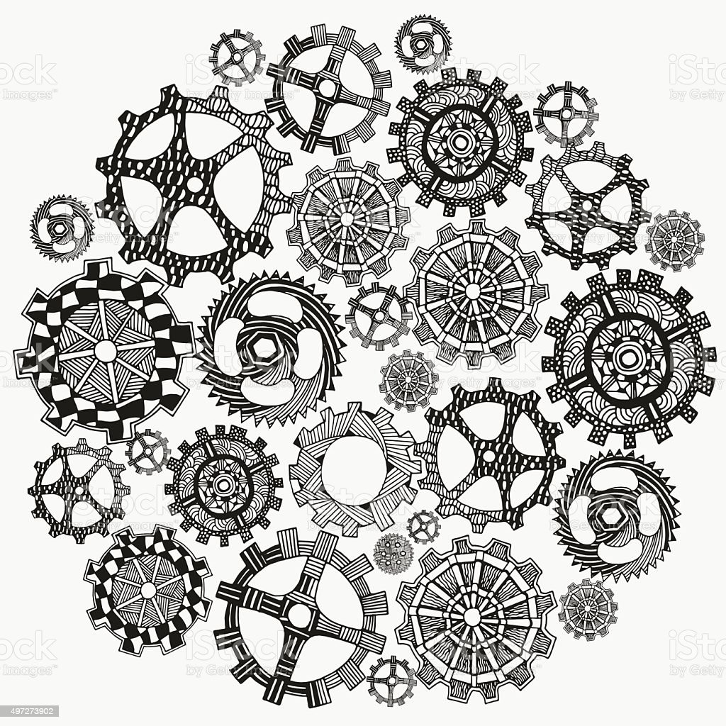 Circle ornament. Hand drawn art mandala. Set of artistically gears. vector art illustration