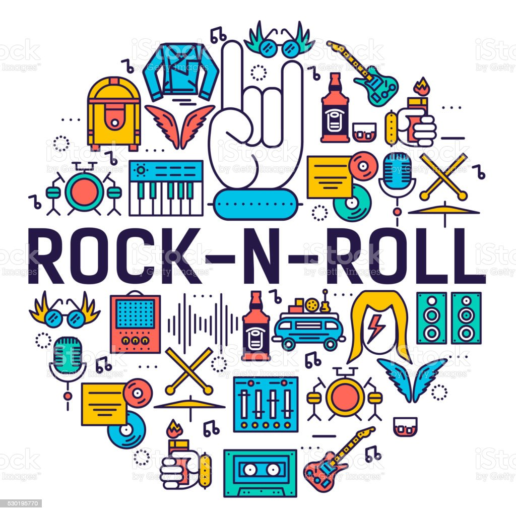 ROCK'N'ROLL circle outline icons collection set vector art illustration