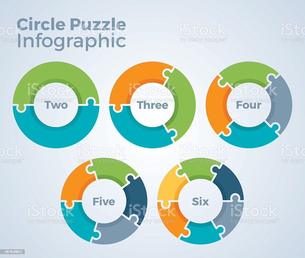 Circle Puzzle Infographic vector art illustration