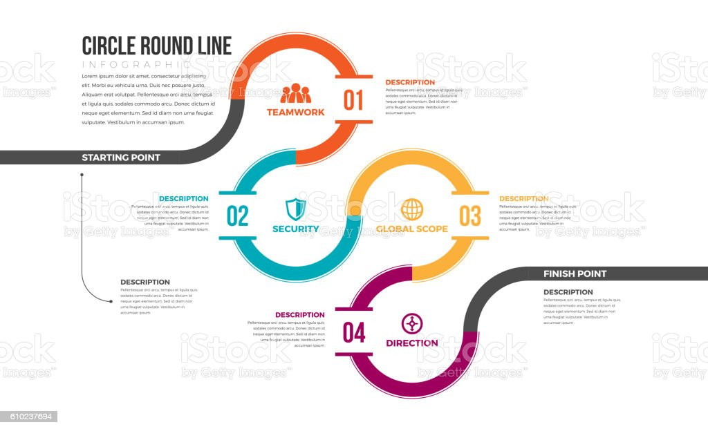 Circle Round Line Infographic vector art illustration