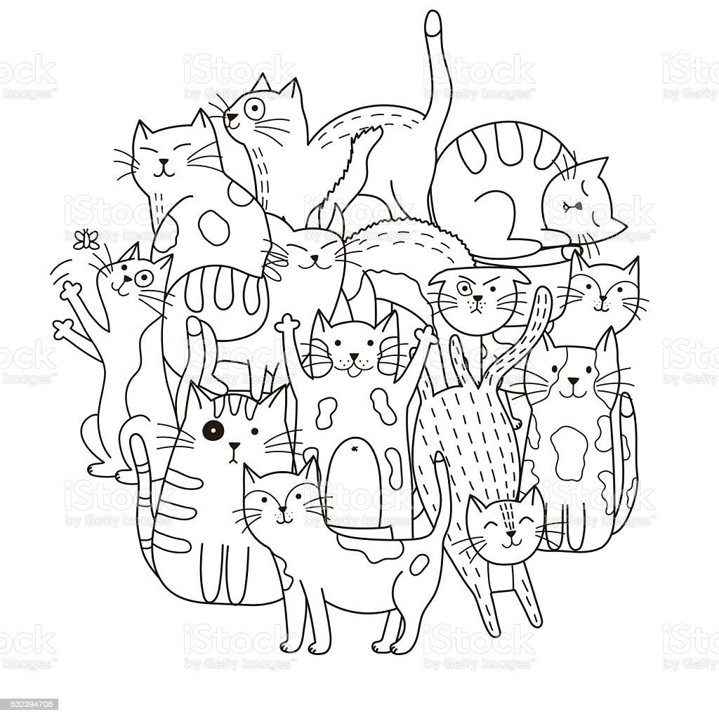 Circle shape pattern with cute cats for coloring book vector art illustration