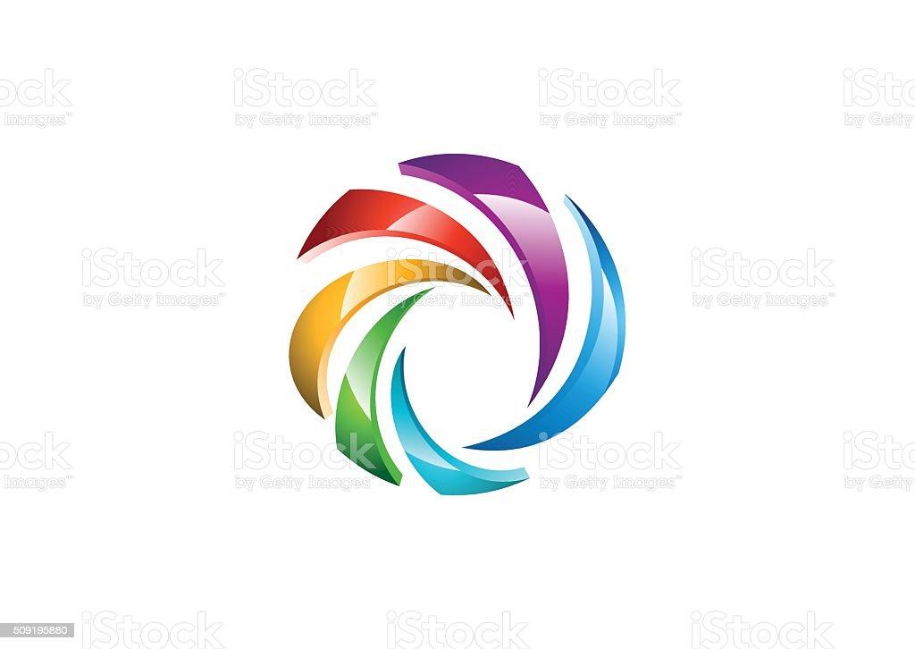 circle sphere logo, global swirl elements symbol icon vector design vector art illustration