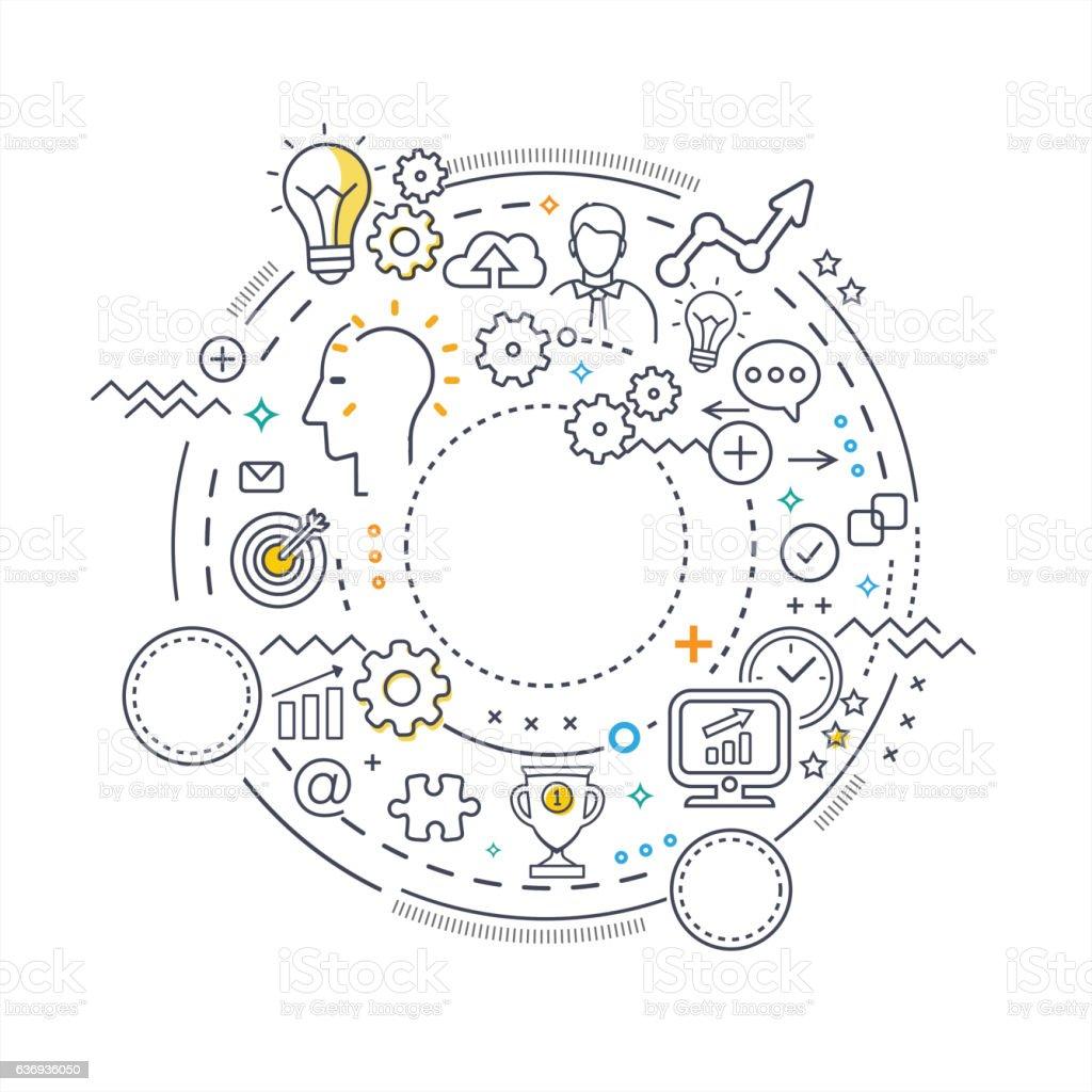Circle Thin Line Concept - Tehnology Consept vector art illustration