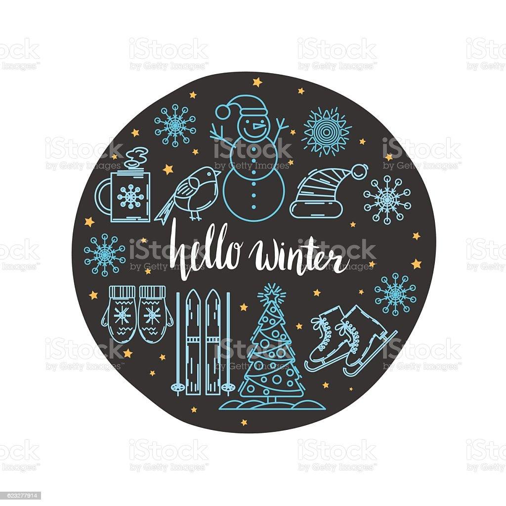 Circle vector Christmas greeting card design. royalty-free stock vector art