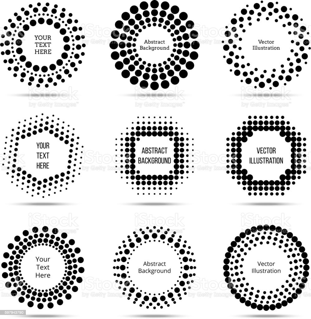 Circle vector dotted burst halftone banners vector art illustration
