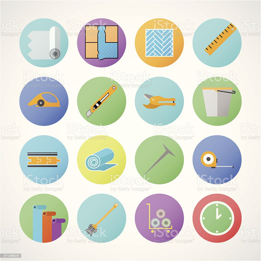 Circle vector icons for linoleum flooring service vector art illustration