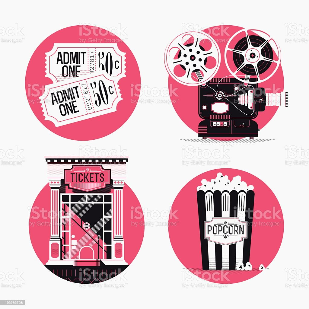 Circle web icons on movie motion picture film entertainment industry vector art illustration