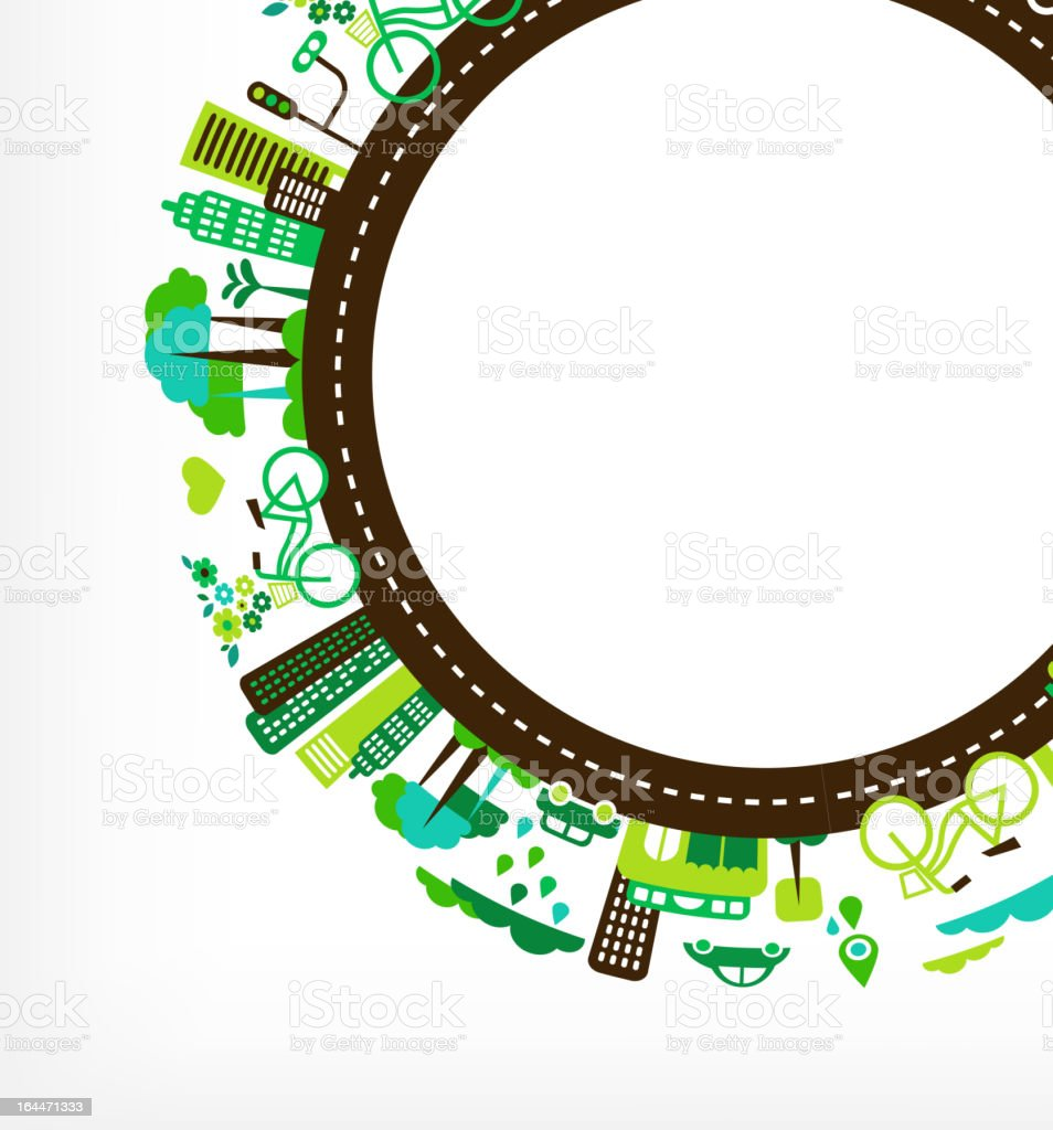 circle with green city - environment and ecology vector art illustration
