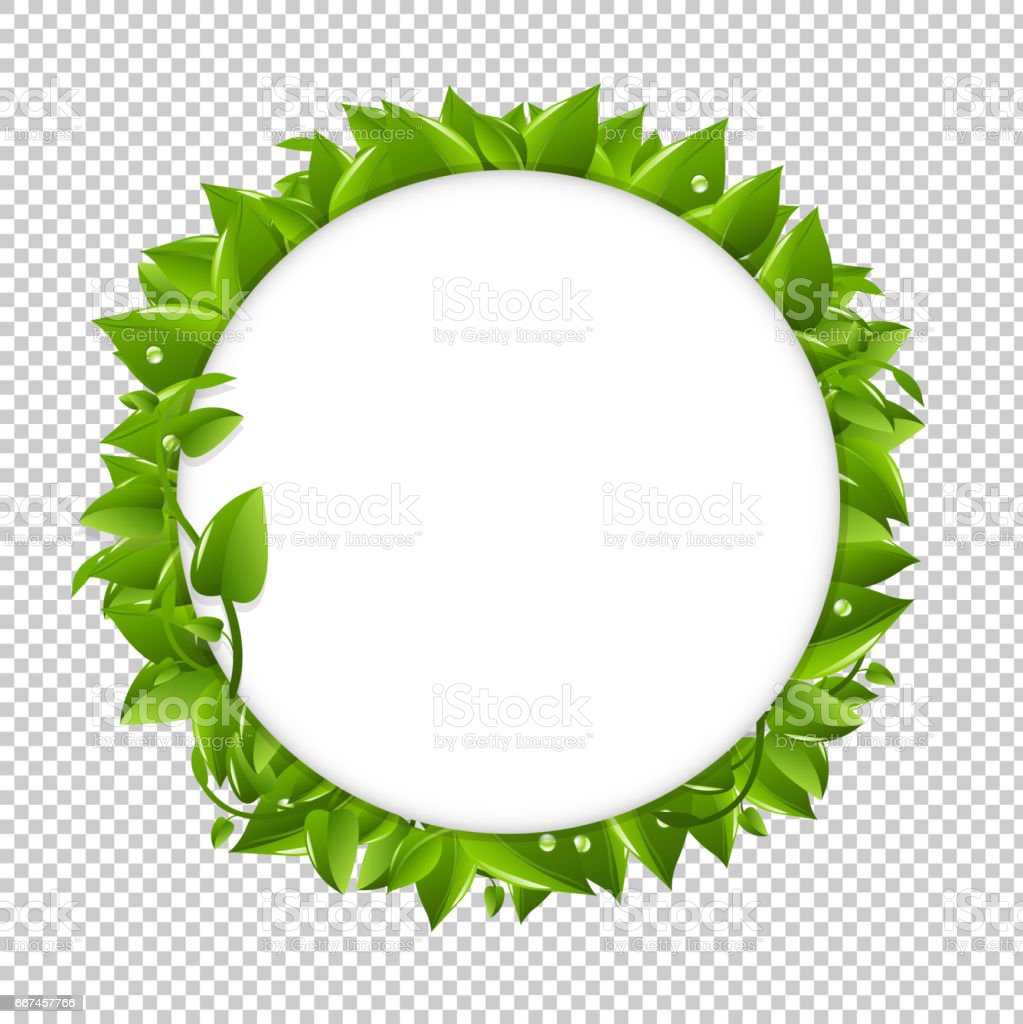 Circle With Green Leafs vector art illustration