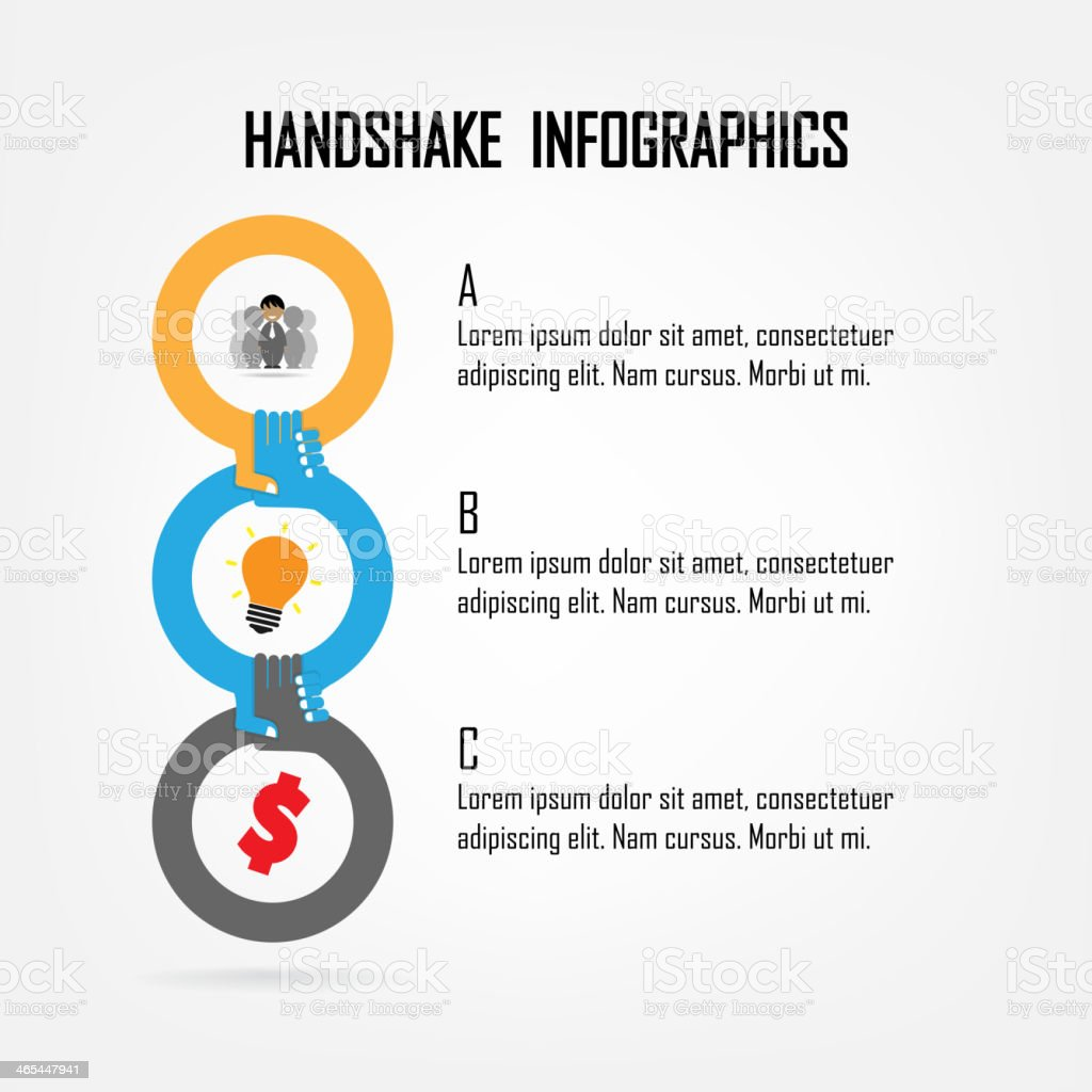 Circles connected together win handshakes in an infographic royalty-free stock vector art