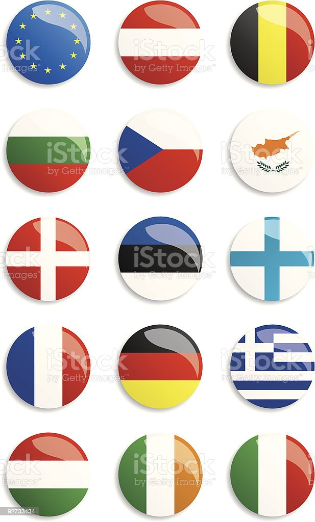 Circles with different European flags on a white background royalty-free stock vector art