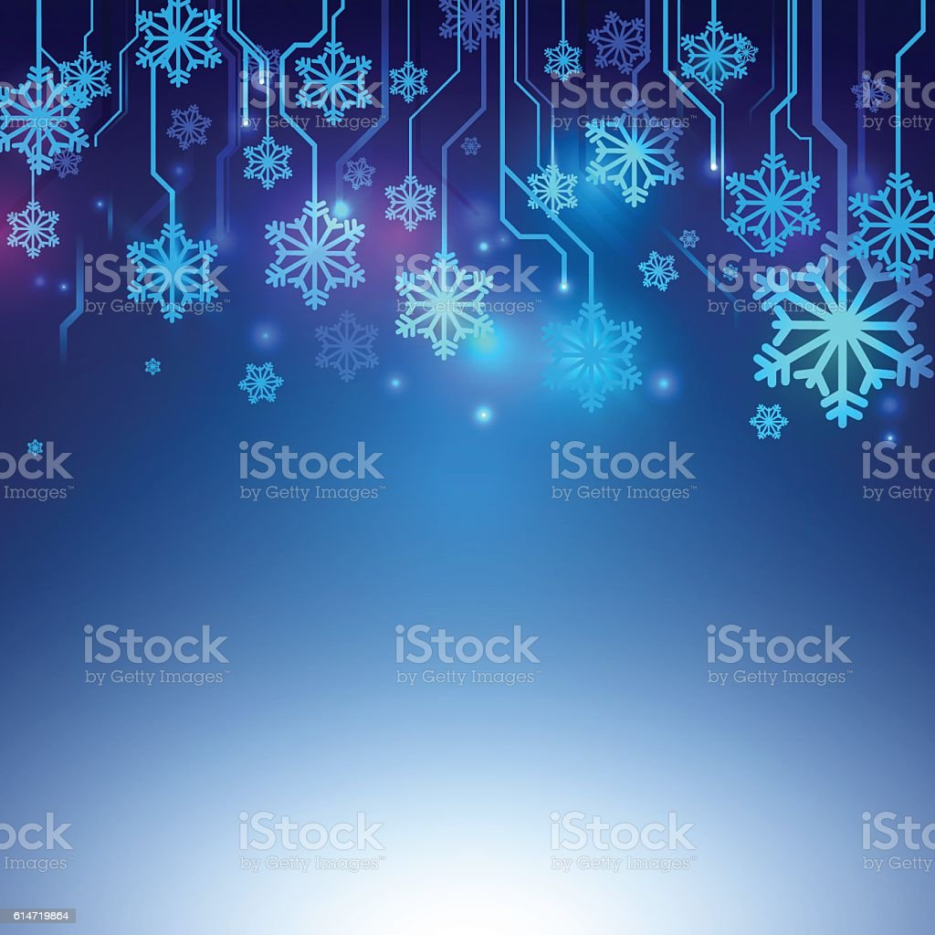 Circuit Blue lines with Snowflake Abstract Technology Background vector art illustration
