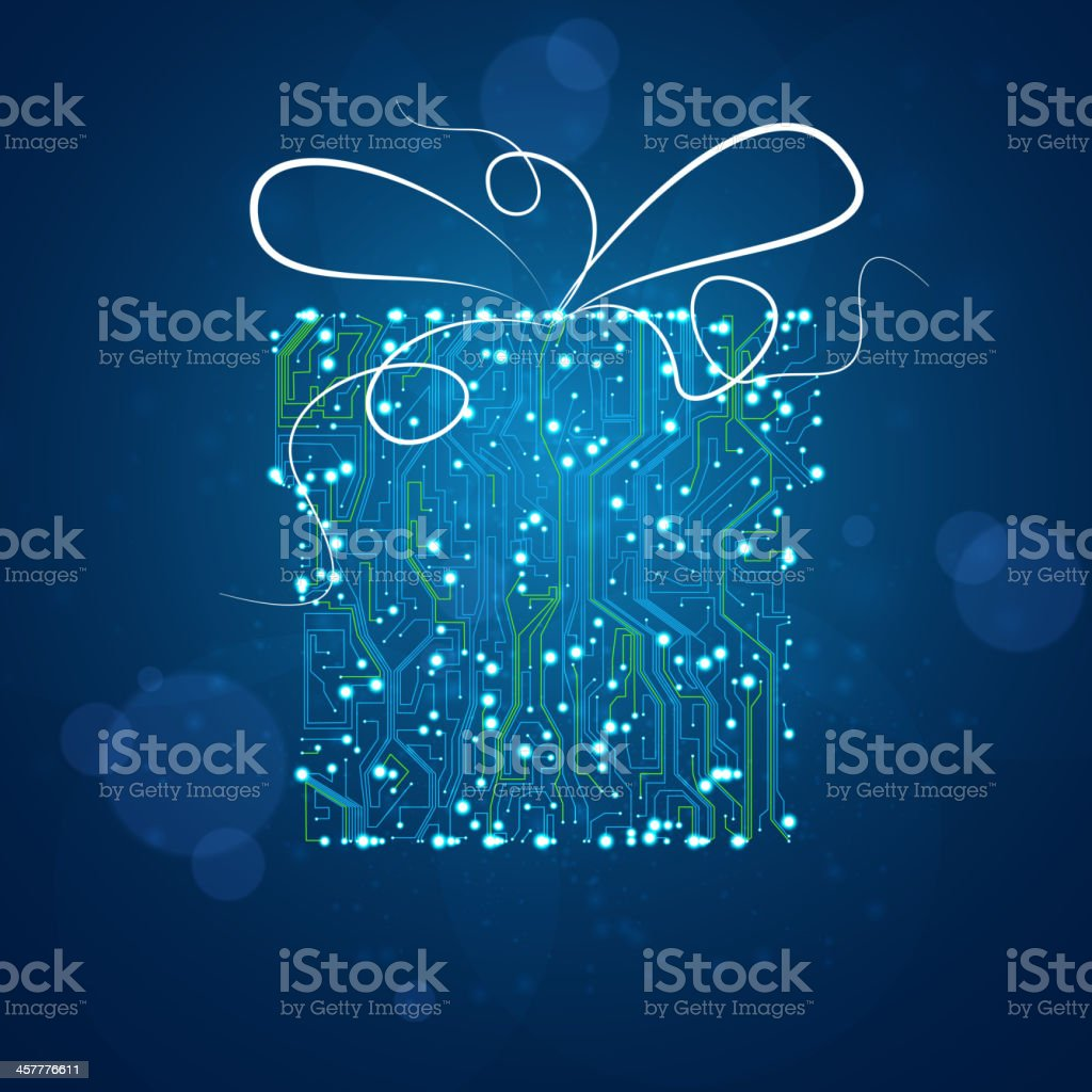 Circuit board background, christmas gift royalty-free stock vector art