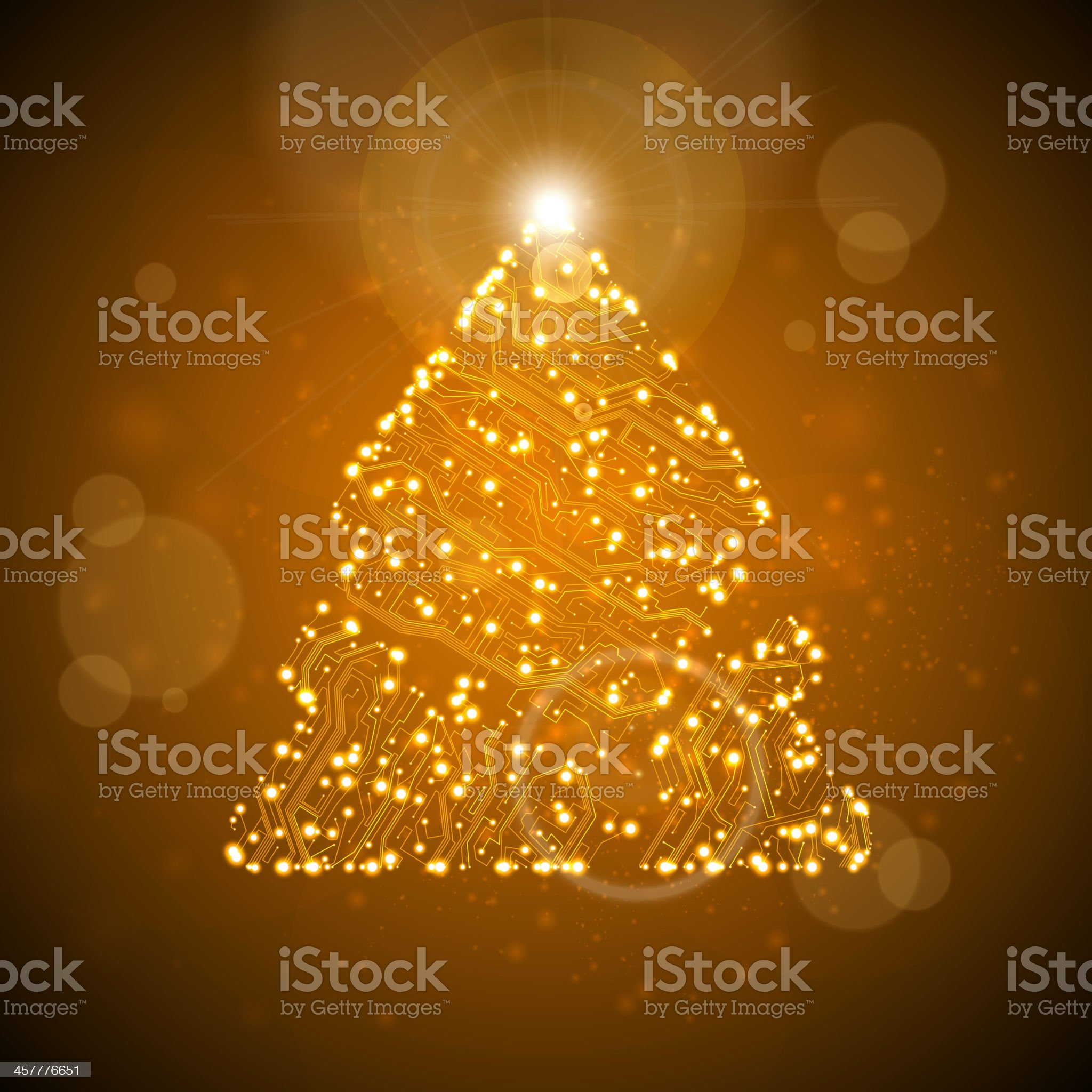 Circuit board background, christmas tree royalty-free stock vector art