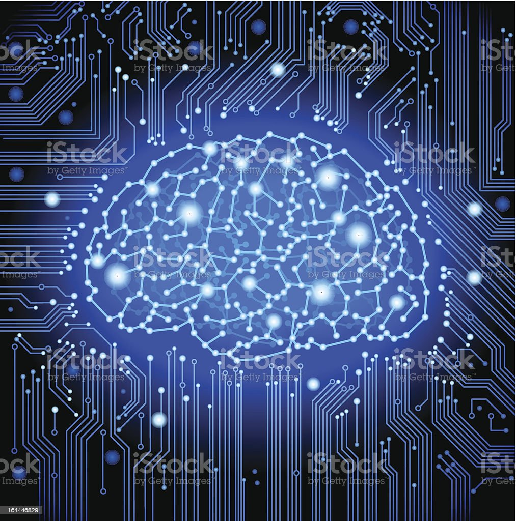 circuit  board brain background royalty-free stock vector art