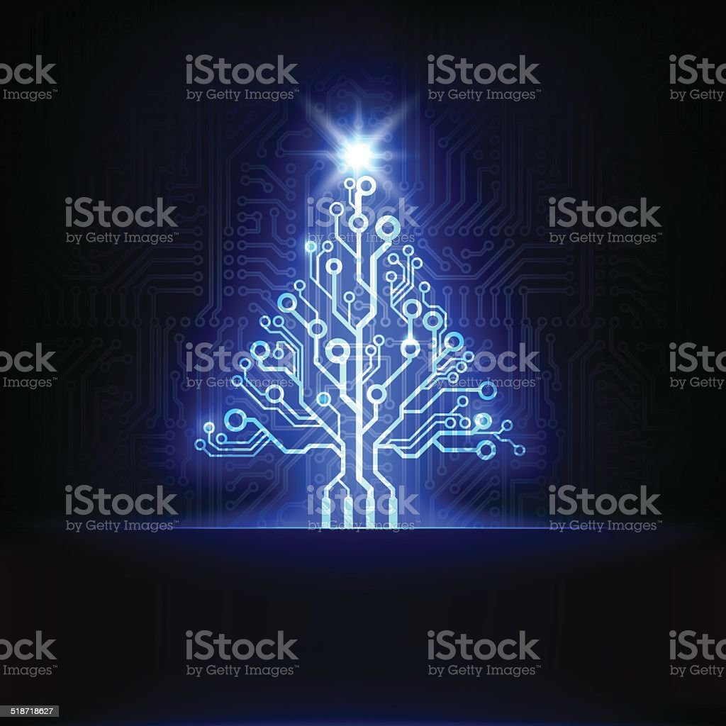Circuit board Christmas tree vector art illustration